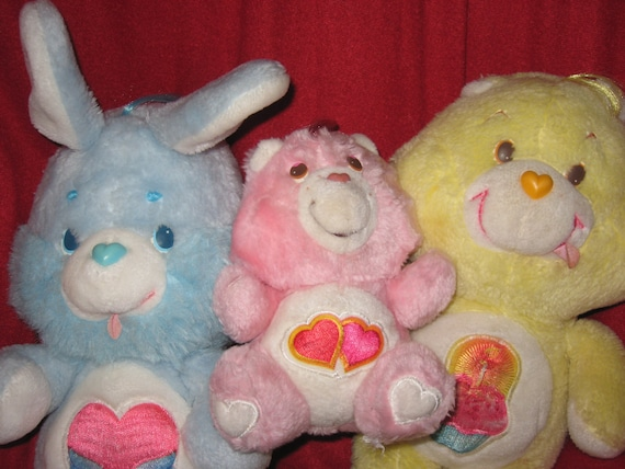 ON SALE Instant Care Bear Collection - Blue Rabbit, Birthday Bear and Love A Lot Bear Plush Dolls