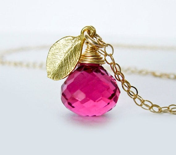 Hot Pink Quartz Necklace, Mini Gold Leaf - Wild Raspberry.