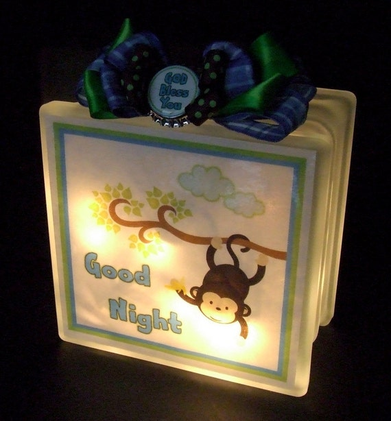 items similar to night light glass block monkey theme on etsy. Black Bedroom Furniture Sets. Home Design Ideas