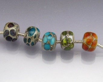 Interchangeable Lampwork glass european charm large hole bead set Sea Rocks  MADE to ORDER by Anne Londez sra