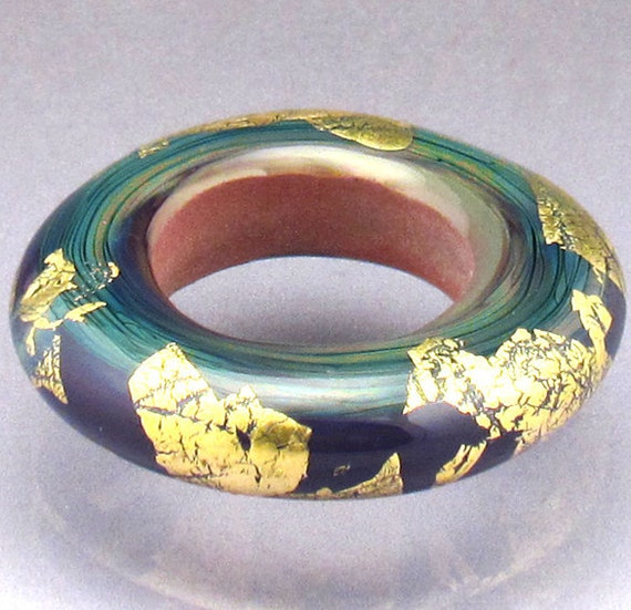 Lampwork glass bead disc MADE to ORDER large hole doughnut bead ring  gold leaf 24k Anne Londez SRA