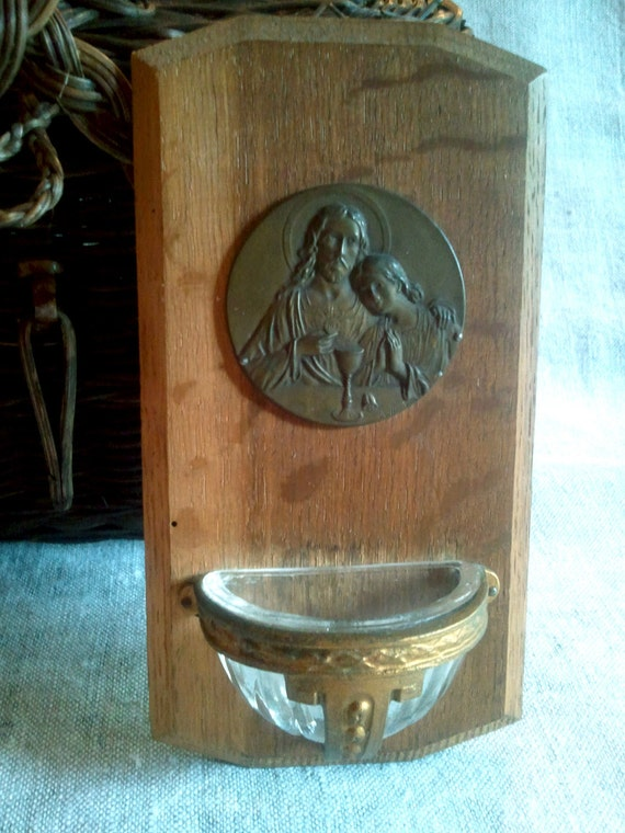 Antique Wall hanging French religious benitier stoup with brass and a medal of Jesus and St John