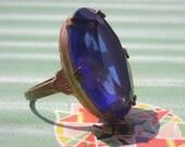 Art Deco Ring- 1930s Blue Open Back Stone