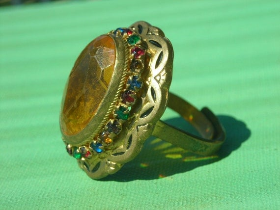 Art Deco Czech Ring- Yellow Glass with Rhinestones and Enamel