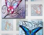 Butterflies Swirls Pastel Watercolor Paper Instant Download for Glass Resin Scrabble Tile Pendants Digital Collage Sheet Square Jpeg (S-8)