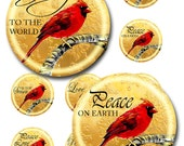Christmas Cardinal Instant Download Glass Resin Pendants Round Digital Image Collage JPEG (D-2)