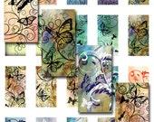 Butterflies Swirls Domino 1 x 2 Inch Instant Download Digital Image Collage Sheet (12-27)