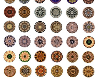 Mandala Circles Instant Download 1 inch Rounds Collage Sheet 48 Original Designs (KKX-101)