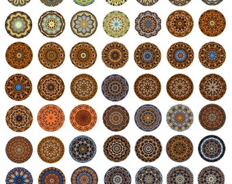 Mandala Instant Download for Glass Resin Pendants 1 Inch Collage Sheet  Rounds Circles JPEG Images (KKX-103)