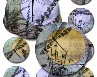 Dragonflies Moon Ephemera Round Circle 1, 1.5, 2 Inch Instant Download for Glass and Resin Pendants Multiple Sizes (A-28-2)