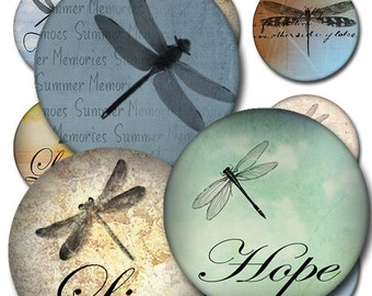Dragonflies Round Inspirational Instant Download 1 and 2 Inch Collage Sheet JPEG (MA-52)