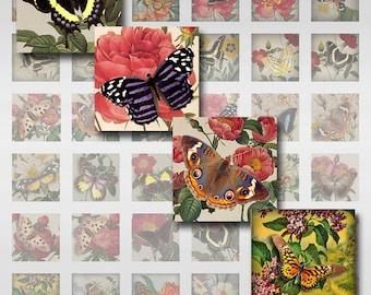 Butterflies Vintage Floral Watercolor Instant Download Resin Glass Scrabble Tile Pendants JPEG (MA-85)