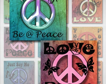 Peace Sign Symbol Square Instant Download 1 and 2 Inch Resin Glass Scrabble Tile Pendants JPEG Images (MA-11)