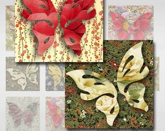 Butterflies Roses Japanese Sampler Sheet of Various Sized Squares Instant Download (MA-17C)