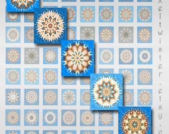 Mandala Squares Digital Collage Sheet Download JPEG Images (BG-2)