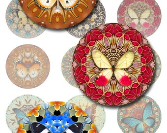 Mandala Butterflies Instant Download 1 and 2 Inch Round Jpeg (J-11)