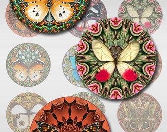 Butterfly Mandala  Instant Download 3 Pages 1,1.5,2 Inch Round Circle Jpeg (J-13B)