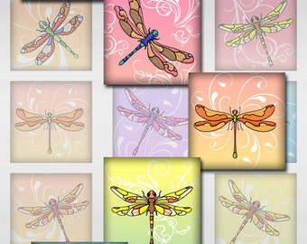 Dragonfly White Swirls Instant Download Resin Glass Scrabble Tile Pendants Square Digital Image 1 and 2 Inch JPEG (J-18S)