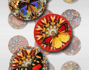 Butterfly Mandala Digital Image Instant Download 1 and 2 Inch Resin Glass Scrabble Tile Pendants Rounds JPEG (JU-1)