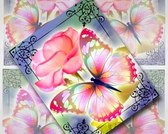Butterflies Collage Sheet Digital Images 4 x 5 inch JPEG (JU-30)