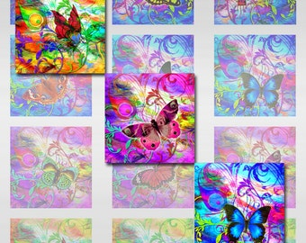 Butterflies Collage Sheet Digital Images Square JPEG (AG-13)