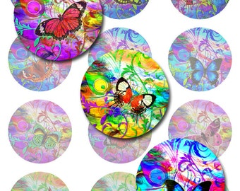 "Butterfly Art Nouveau Instant Download 1"",2"" and 40mm Round Circles and 30x40mm Ovals JPEG (AG-131)"
