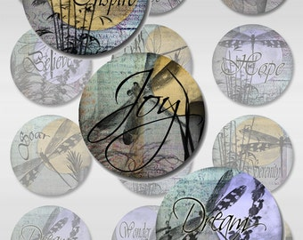 Dragonfly Moon Ephemera Instant Download 1 and 2 Inch Round Collage Sheet Digital Images JPEG (S-7)