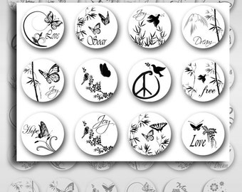 Black White Nature Inspirational Words 1 Inch and 12mm Instant Download Resin Glass Pendants Round JPEG Images (S-19)