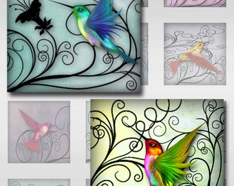 Hummingbirds Pastel Watercolor Paper Instant Download for Glass Resin Pendants 1 and 2 Inch Square Jpeg Images (S-27)