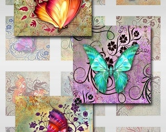 Butterflies Floral Deco Grunge 2,1 Inch Instant Download Glass Resin Scrabble Tile Pendants Digital Collage Sheet Square Jpeg Images (C-4)