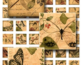 Dragonfly Butterflies Woodland Theme Squares Instant Download 1 Inch Resin Glass Scrabble Tile Pendants Digital JPEG Images (MA-21)