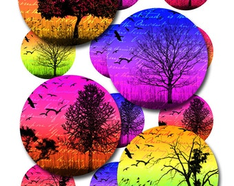 Tree Silhouettes Bird Ephemera Instant Download 1 and 2 Inch Inch Digital Collage Sheet Round Jpeg Images (12-3)