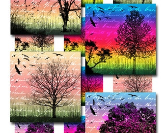 Tree Silhouettes Bird Ephemera Digital Instant Download Resin Glass Scrabble Tile Pendants Sheet Square 1 and 2 InchJpeg Images (12-7)