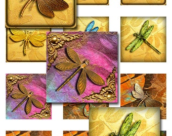 Dragonfly Square Instant Download 1 and 2 Inch Resin Glass Scrabble Tile PendantsDigital Images Collage Sheet JPEG (12-41)