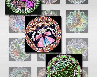 Butterfly Mandala Squares Instant Download Resin Glass Scrabble Tile Pendants 1 and 2 Inch JPEG (12-62)