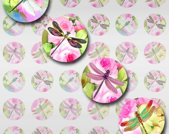 Dragonflies Roses Instant Download for Glass Resin Pendants 5 Pages of Sizes Round Circles JPEG (12-97)