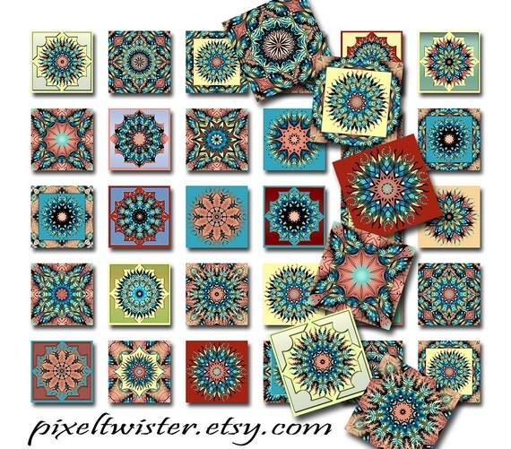 Mandala Butterfly Squares Instant Download 1 Inch Resin Glass Scrabble Tile Pendants Digital Download JPEG Images (A-9)