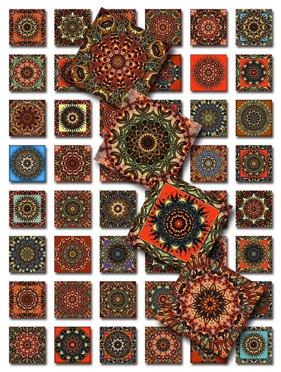Mandala Squares Digital Collage Sheet JPEG Images (A-23G)