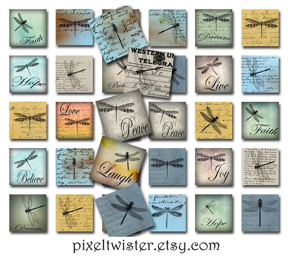 Dragonflies Ephemera Inspirational Square Instant Download for Glass Resin Scrabble Tile Pendants 1 Inch JPEG (A-29DM)