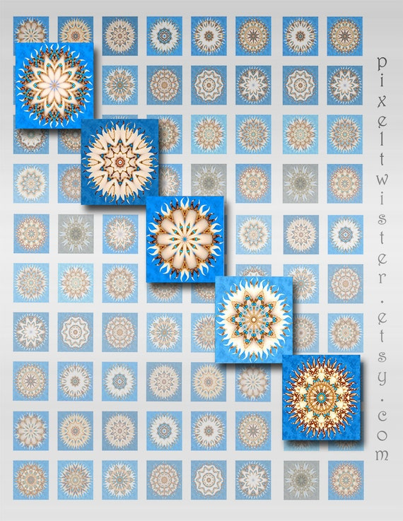 Mandala Squares Instant Download for Resin Glass and Scrabble Tile Pendants 1 and 2 Inch JPEG Images (BG-2)