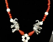 "Necklace ""Africa"",  natural coral, 925 sterling silver. OOAK"