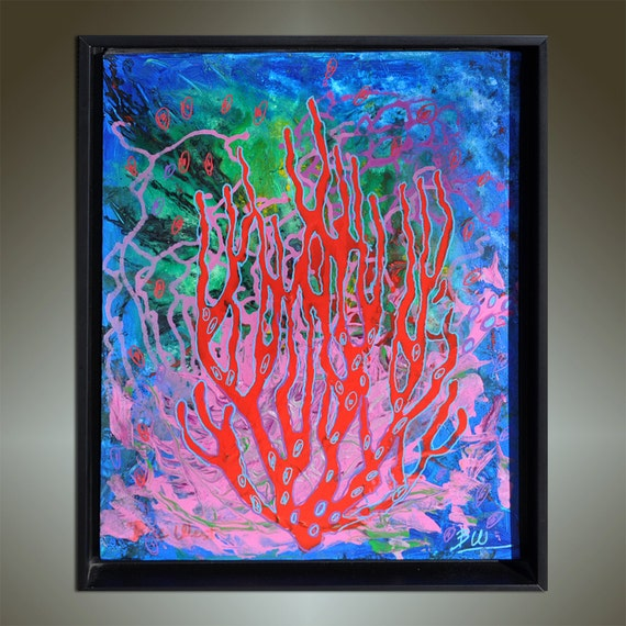 "18"" x 22"" THE DEEP Original Abstract Painting FRAMED"