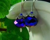 Earrings. Handmade Dark Metallic Blue Faceted Crystal Rondelle Sterling Silver