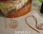 Earrings. Handmade Long Antique Copper Swirl Earrings Eco Friendly Rustic Urban by Zumalilly on Etsy