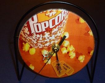 Popcorn  Recycled CD Clock Art