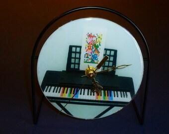 Piano Recycled CD Clock Art