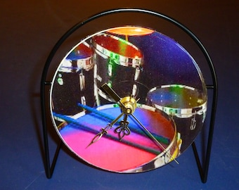 Drums Recycled CD Clock Art