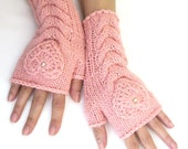 Pink Fingerless Wool Gloves with a heart, Mittens, Arm Warmers , Hand Knitted, Eco Friendly