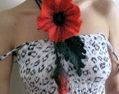 Red Flower...Felt Necklace with  brooch