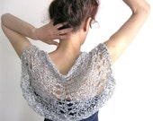 SILVER GRAY Shrug  ....Elegant Hand Knitted Summer Shrug